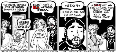 The BBQ stains and bonfire soot makes it an even better wedding dress.