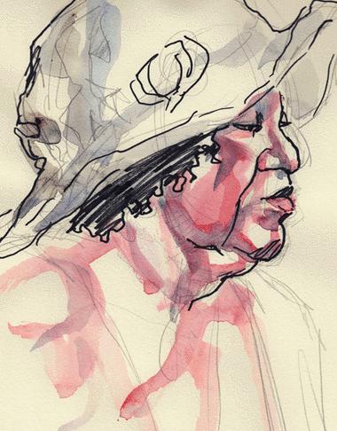 Pencil, Sharpie, Watercolor.