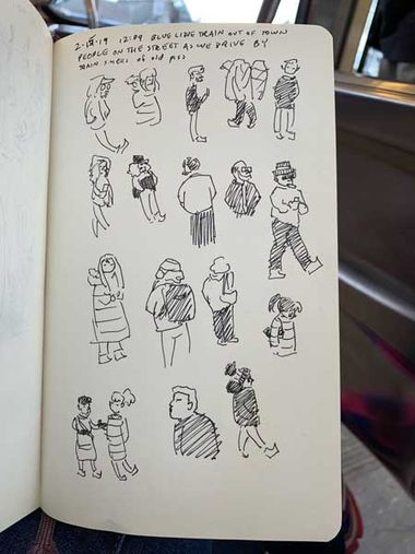 I was on the train sketching the people on the street that we passed. Only down side is the smell of old piss.