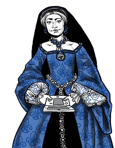 Based on Princess Elizabeth, age 13 in 1546, by Levina Teerlinc