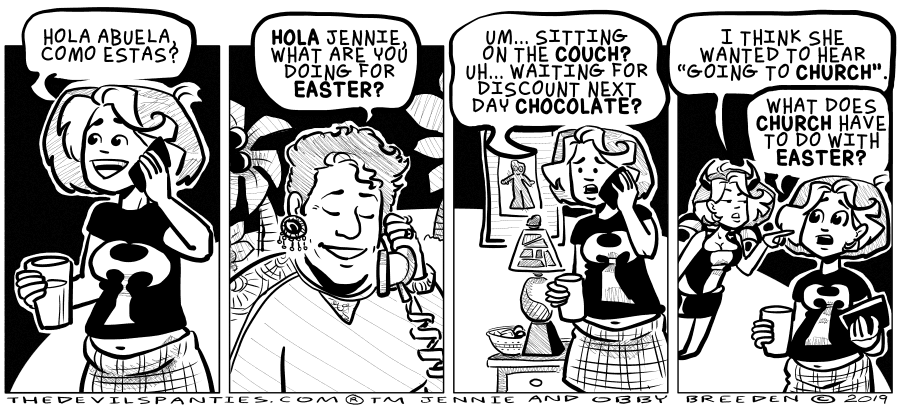 This did happen around Easter, I just didn't write it up until now. Some comics percolate.